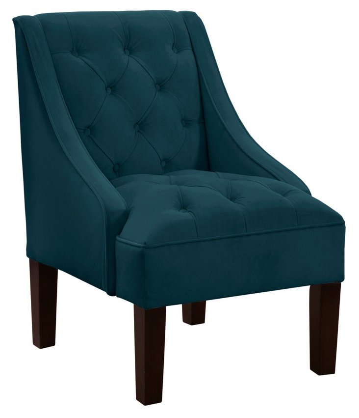 Isabelle Swoop-Arm Chair, Dark Teal
