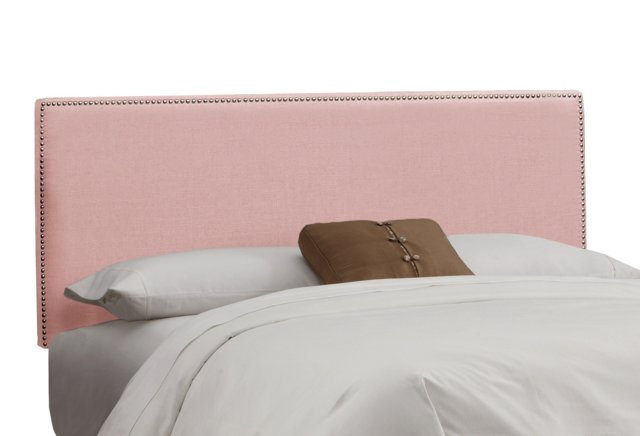 Hannah Button Headboard, Linen Pink