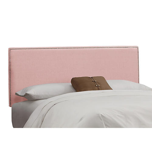 Loren Headboard, Pink Linen