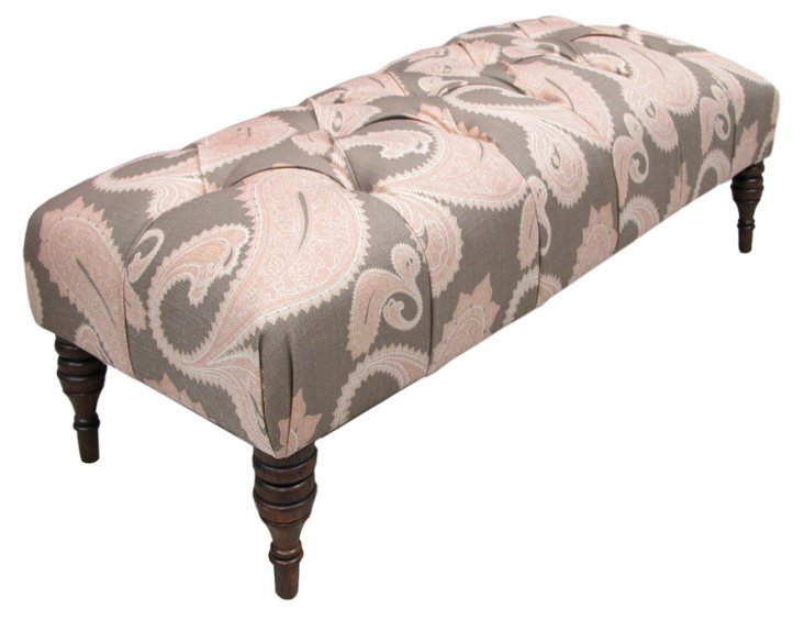 Stanton Tufted Bench, Blush/Taupe