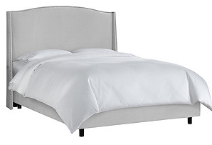Cole Nail-Trim Wingback Bed, Light Gray
