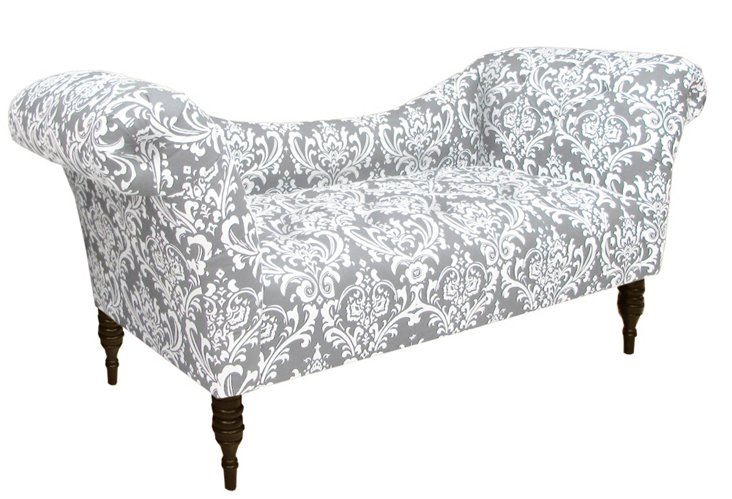 Cameron Tufted Chaise, Gray/White