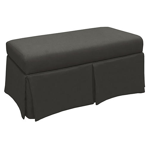 Anne Skirted Storage Bench, Charcoal Linen