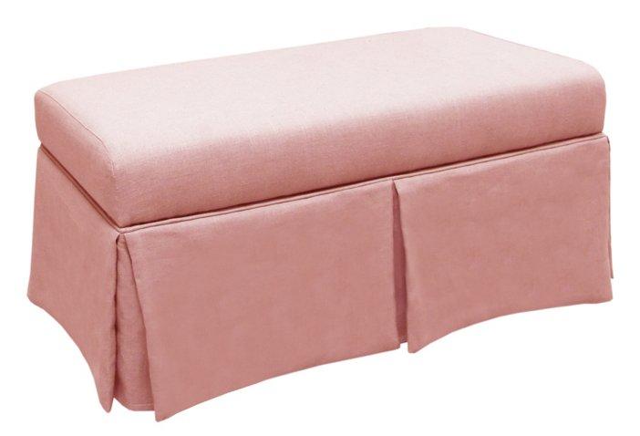 Hayworth Skirted Storage Bench, Petal Linen - Storage Benches ...