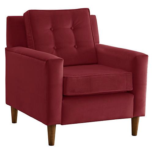 Winston Club Chair, Cranberry Velvet