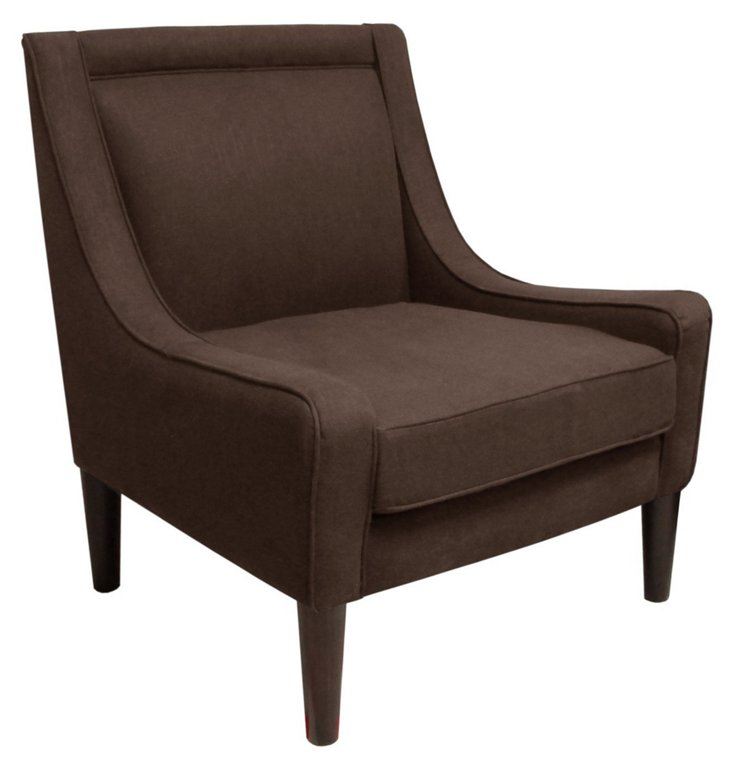 Scarlett Swoop-Arm Chair, Chocolate
