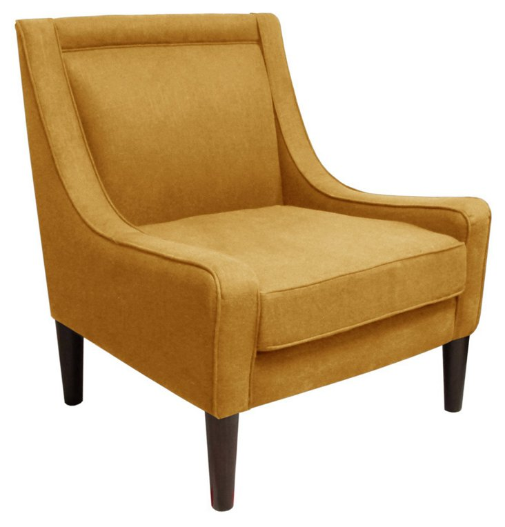 Scarlett Swoop-Arm Chair, French Yellow