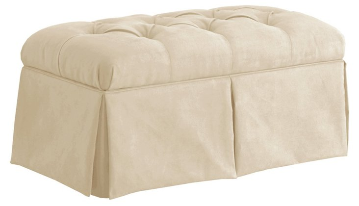 Olivia Tufted Storage Bench, Cream