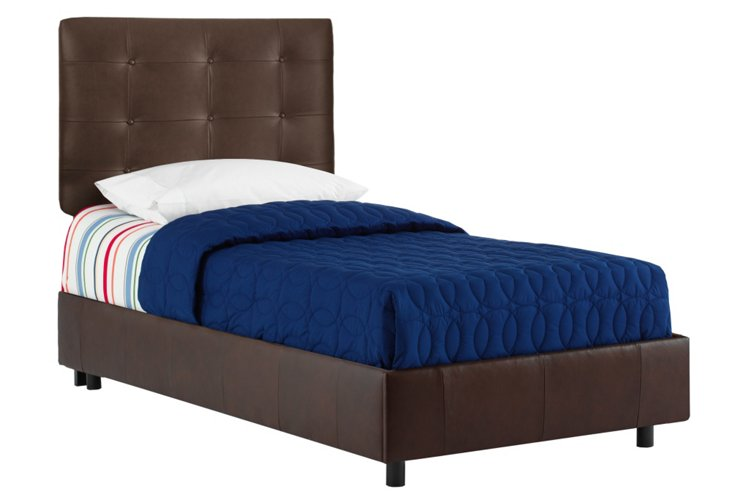 Bonded Leather Bed, Brown