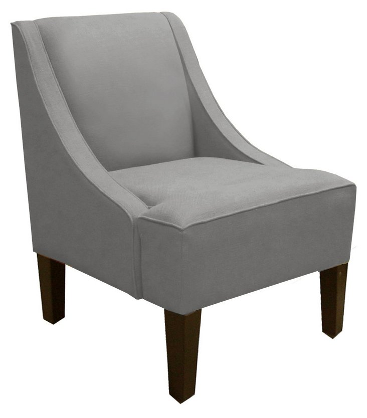 Fletcher Swoop-Arm Chair, Gray