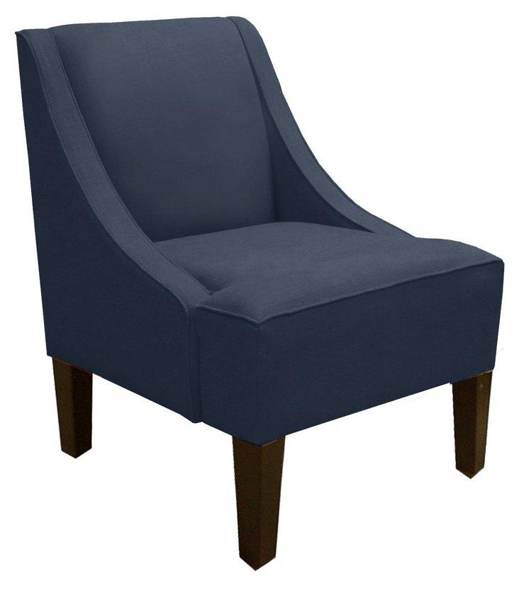 Fletcher Swoop-Arm Chair, Navy
