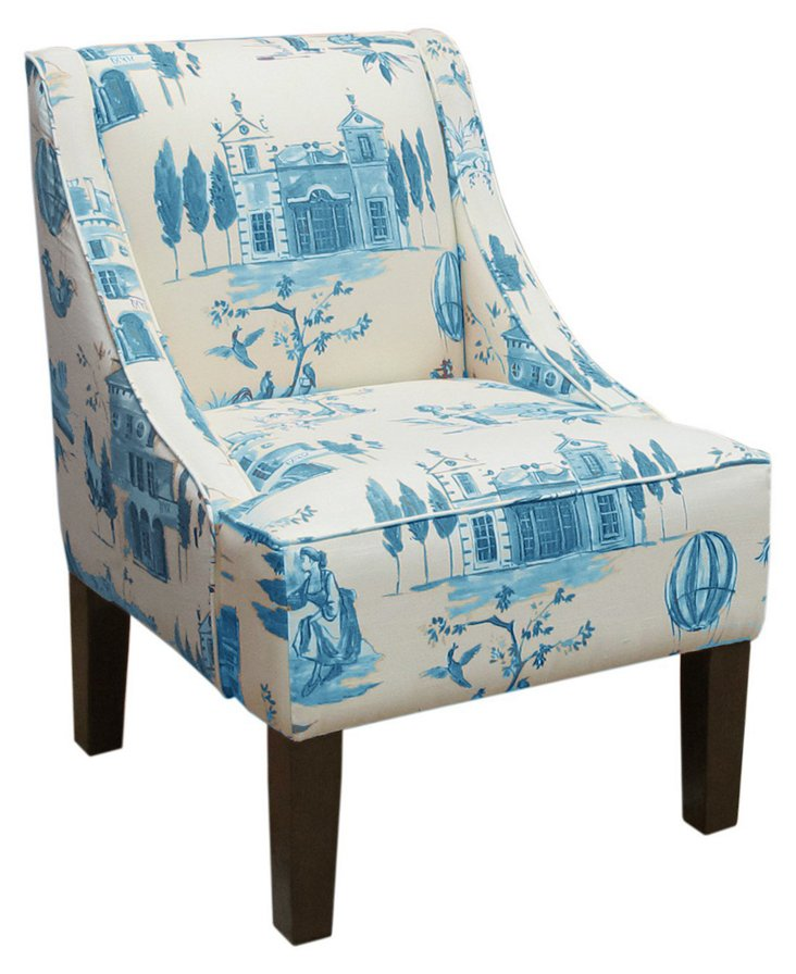 Fletcher Swoop-Arm Chair, Blue/Cream