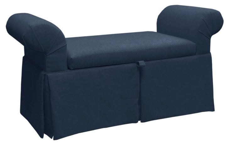 Mara Roll-Arm Storage Bench, Navy Linen