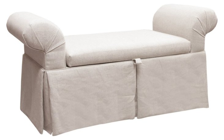 Mara Roll-Arm Storage Bench, Talc Linen