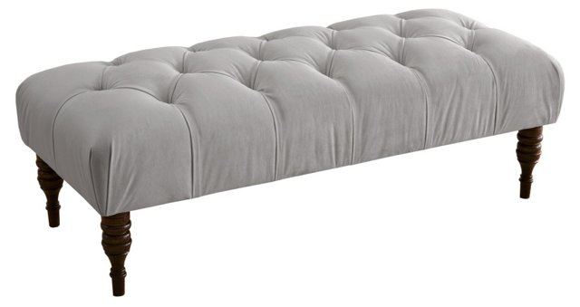 "Stanton 50"" Tufted Bench, Light Gray"