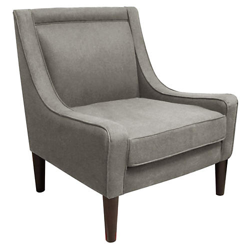 Scarlett Swoop-Arm Chair, Gray