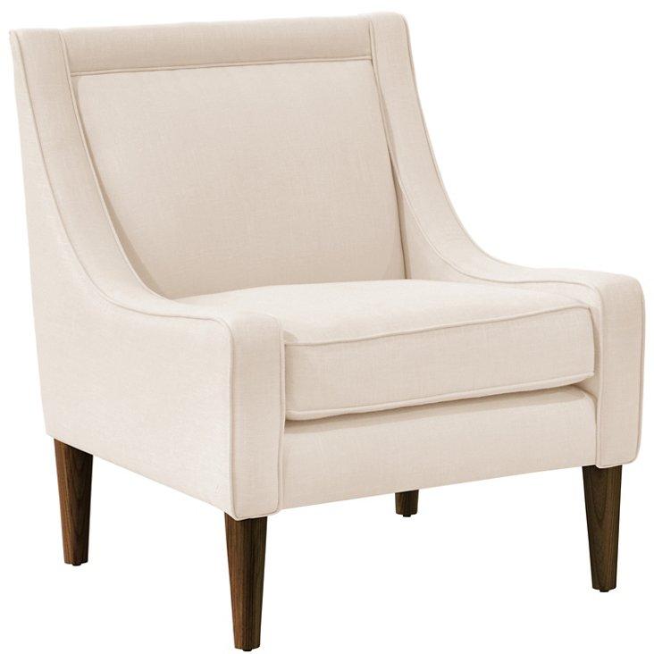 Scarlett Swoop-Arm Chair, Talc Linen