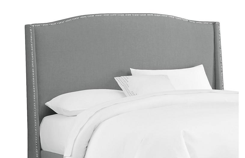 Cole Wingback Headboard, Gray Linen