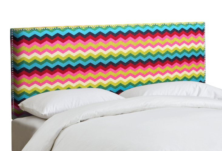 Loren Chevron Nail-Trim Headboard, Multi