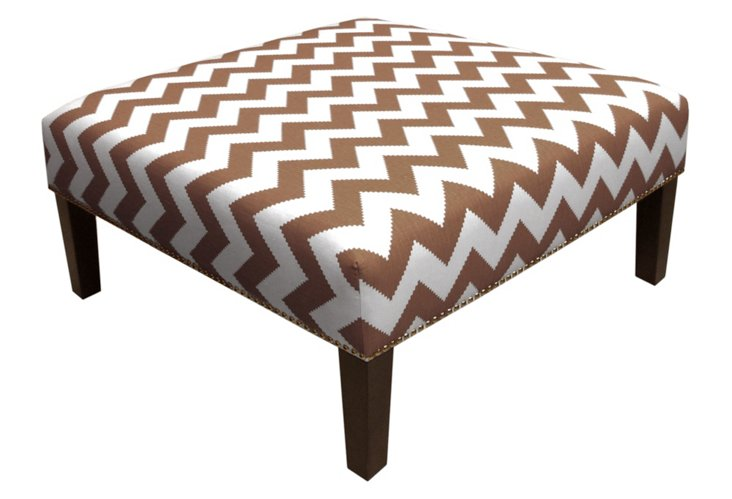 Henry Cocktail Ottoman, Cocoa/White