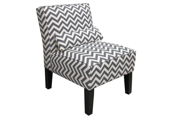 Bergman Armless Chair, Charcoal/White
