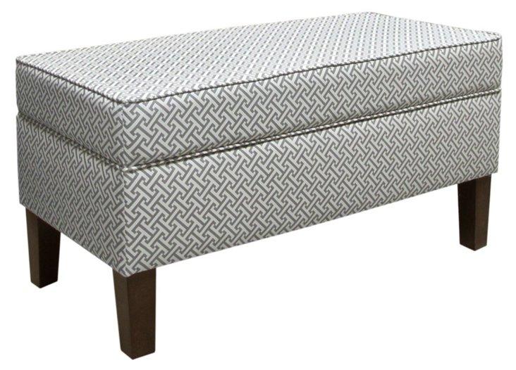 "Breene 39"" Storage Bench, Charcoal/White"