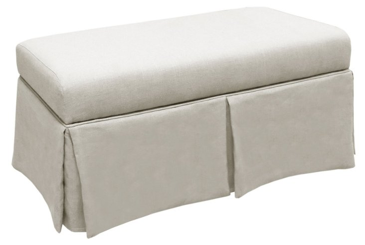 Hayworth Storage Bench, Talc Linen