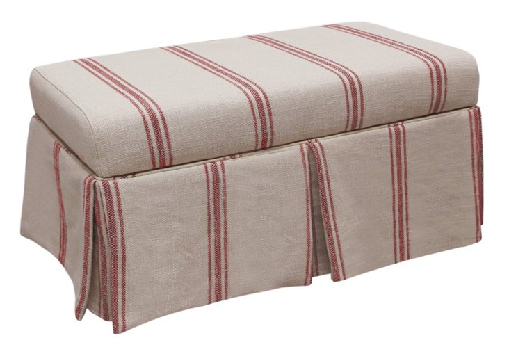 Hayworth Storage Bench, Red/Beige