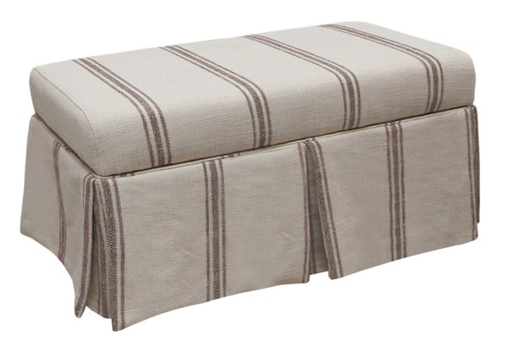 Hayworth Storage Bench, Espresso/Beige