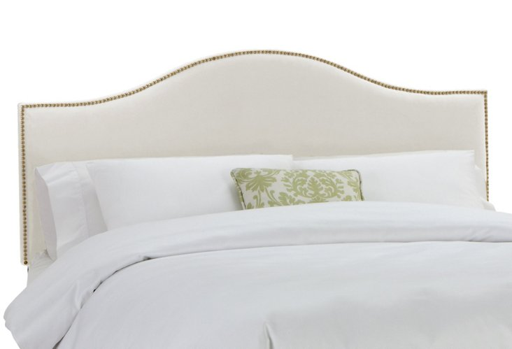 Tallman Velvet Headboard, Antiqued White