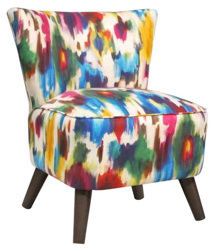 Barnes Modern Linen Chair, Multi