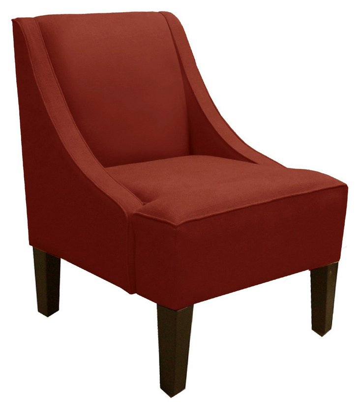 Fletcher Swoop-Arm Chair, Red