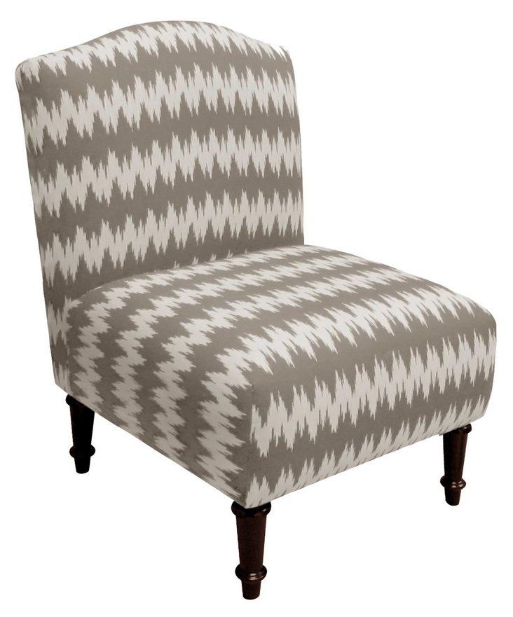 Clark Zigzag Slipper Chair, Mocha/Cream
