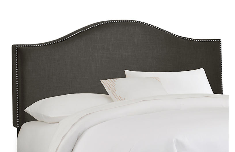 Tallman Headboard, Charcoal Linen