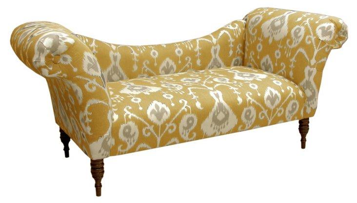 Hutton Ikat Chaise, Mustard/Cream