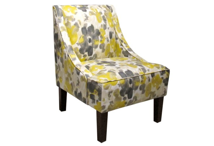 Fletcher Swoop-Arm Chair, Yellow/Gray