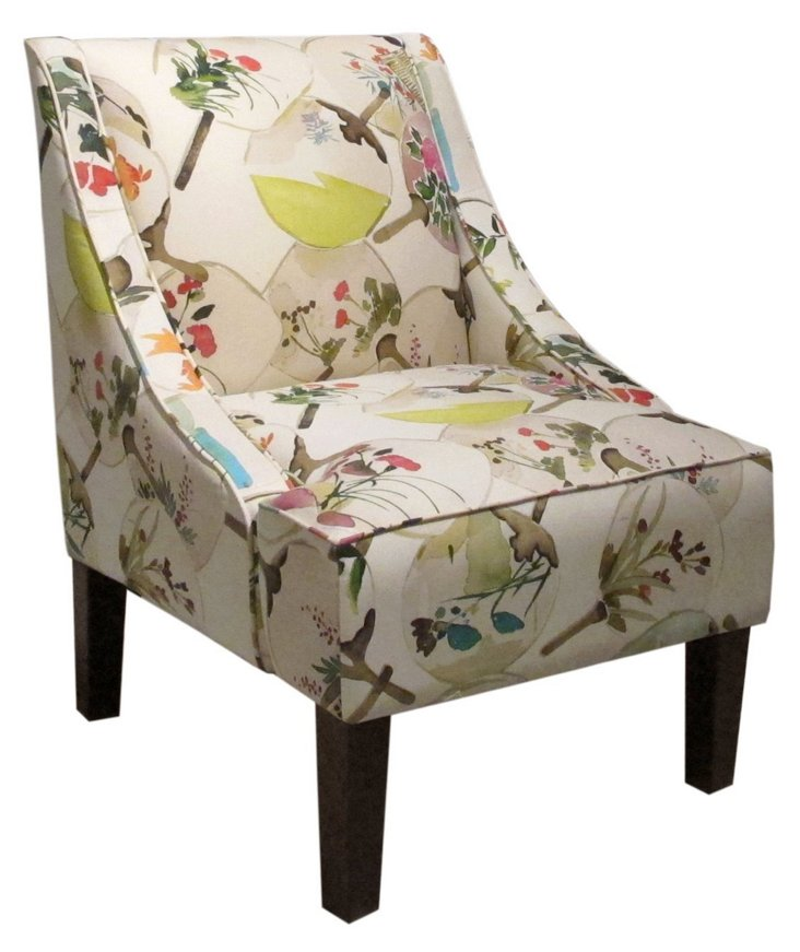 Fletcher Swoop-Arm Chair, Exotic Floral