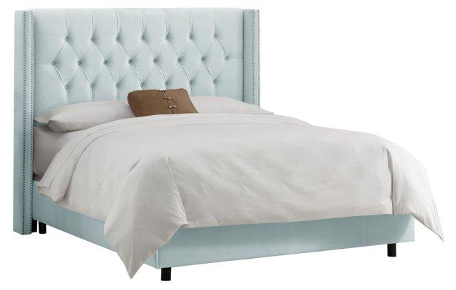 Monroe Velvet Wingback Bed, Light Blue