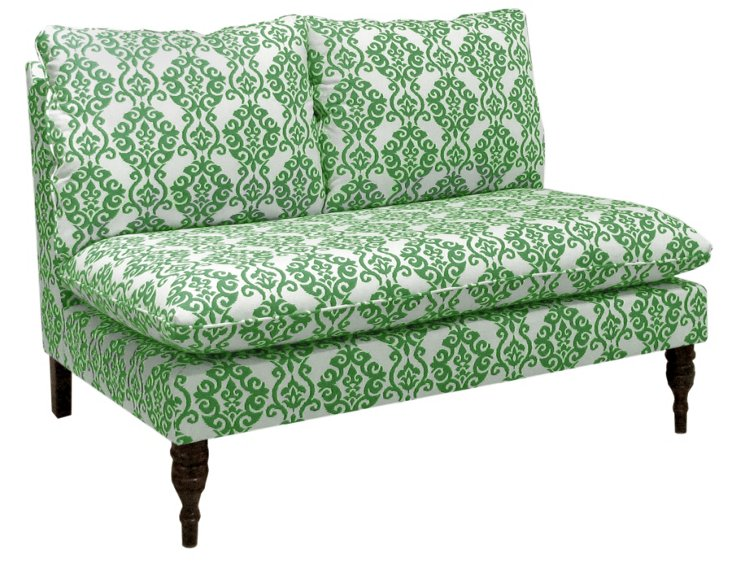 Bacall Armless Settee, White/Green Ogee