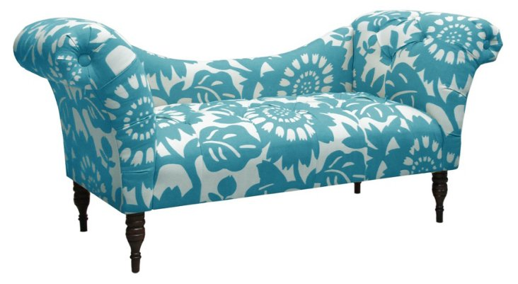 Cameron Tufted Chaise, Turquoise/White