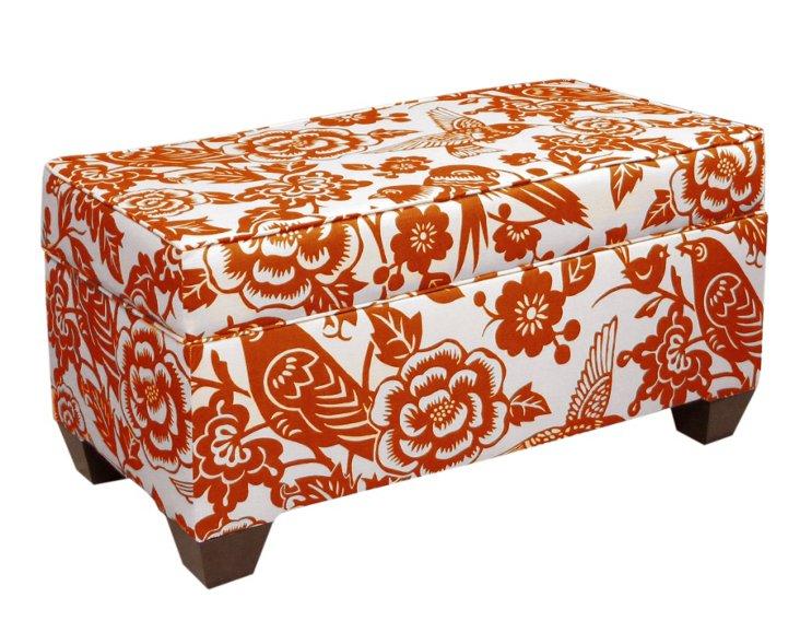 Arthur Storage Bench, Tangerine/White