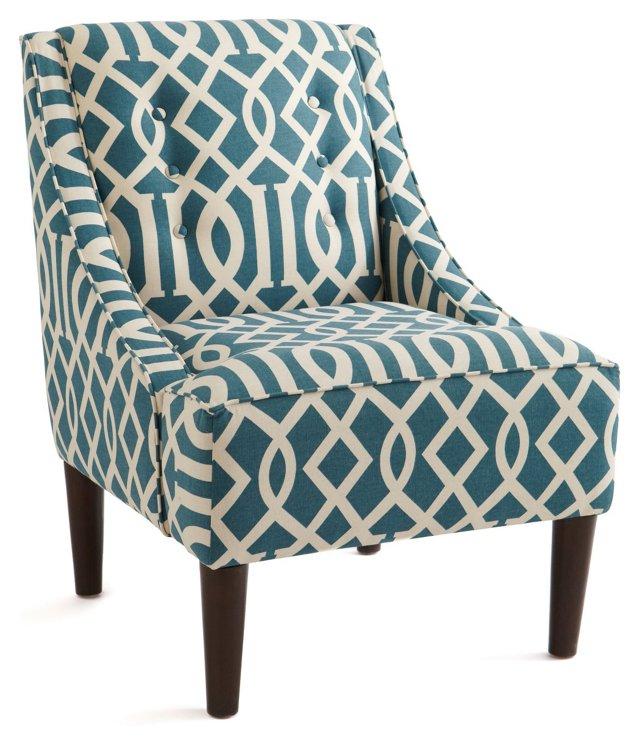 McCarthy Swoop-Arm Chair, Teal Trellis