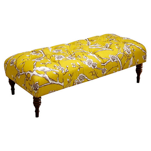 Stanton Tufted Bench, Yellow/Cherry