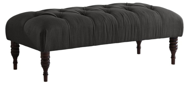 "Stanton 50"" Tufted Bench, Charcoal"
