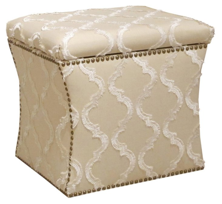 Merritt Storage Ottoman, Cream/White
