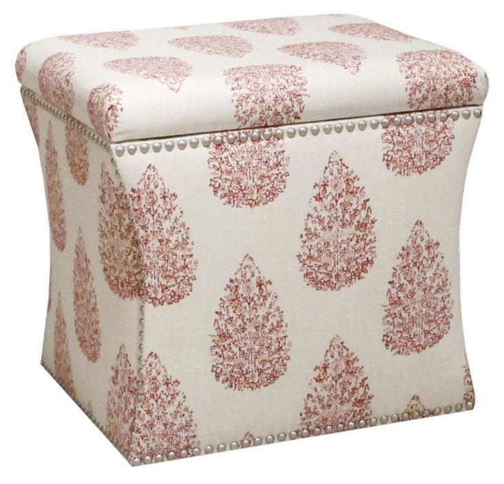 Merritt Storage Ottoman, Cream/Red