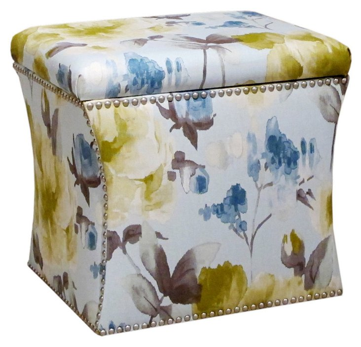 Merritt Storage Ottoman, Light Blue