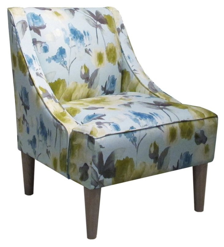 Quinn Swoop-Arm Chair, Powder Blue