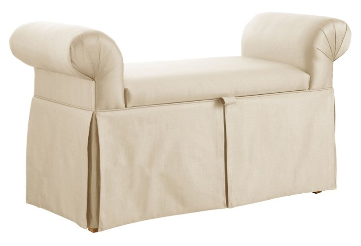 "Mara 51"" Roll-Arm Storage Bench, Cream"