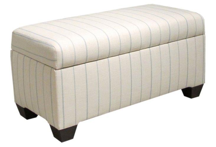 Hayworth Storage Bench, Cream/Light Blue